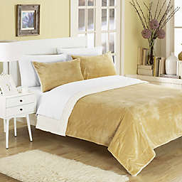 Chic Home Evelyn Queen 3-Piece Sherpa-Lined Blanket Set in Camel