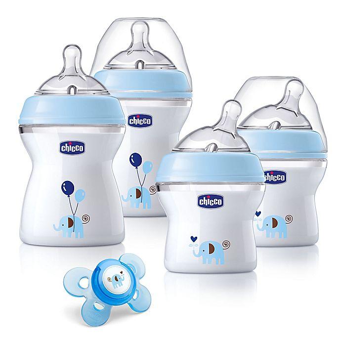 Alternate image 1 for Chicco® NaturalFit® 5-Piece 0M + Wide Neck Slow Flow Bottle Gift Set in Blue Deco