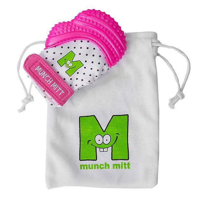 Alternate image 1 for Munch Baby Munch Mitt Baby Teething Mitten in White/Pink Shimmer