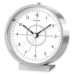 Bulova Flair Table Clock in Aluminum/White