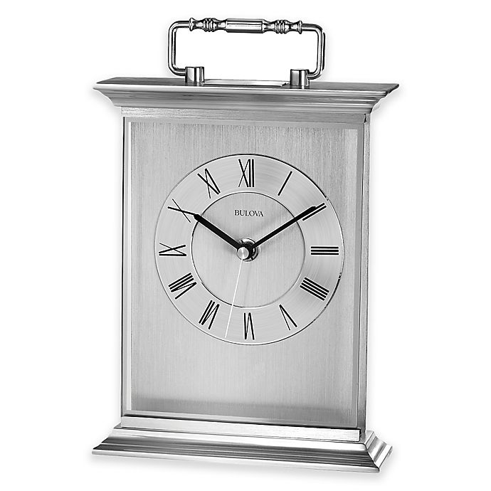 Alternate image 1 for Bulova Newport Table Clock in Aluminum