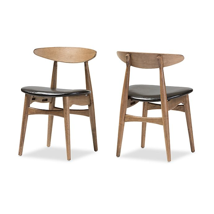 Alternate image 1 for Baxton Studio Edna Wood Dining Chair in Black/Brown (Set of 2)