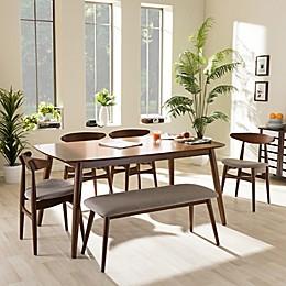 Baxton Studio Flora Wood 6-Piece Dining Set in Brown/Grey