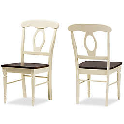 Napoleon French Country Cottage Dining Chairs in Brown/Cream (Set of 2)