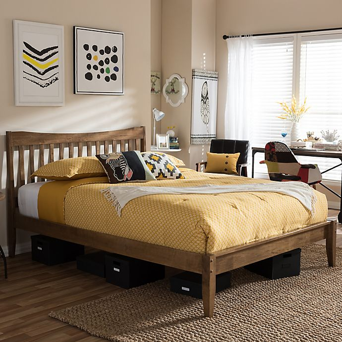 Alternate image 1 for Edeline Slatted Platform Bed in Walnut