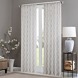 Madison Park Irina Rod Pocket Sheer Window Curtain Panel in White/Grey