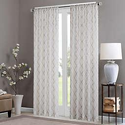 Madison Park Irina 84-Inch Rod Pocket Sheer Window Curtain Panel in White/Grey (Single)