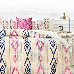 Deny Designs Rosebudstudio Boho Mama Duvet Cover in Pink/Navy