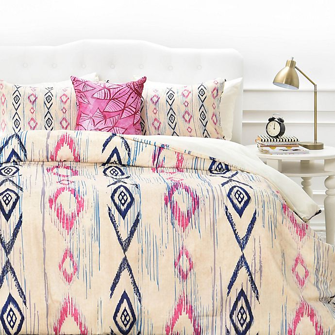 Alternate image 1 for Deny Designs Rosebudstudio Boho Mama Duvet Cover in Pink/Navy