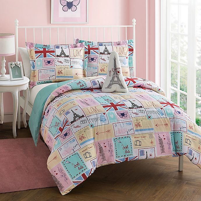 Alternate image 1 for Bonjour Reversible Comforter Set in Pink/Spa