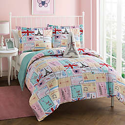 Bonjour Reversible Comforter Set in Pink/Spa