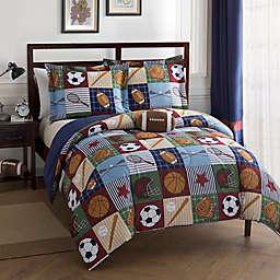 Team Sport Comforter Set in Blue/Tan