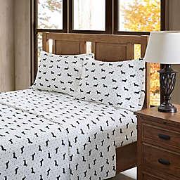 True North by Sleep Philosophy Olivia Flannel California King Sheet Set in Black/White