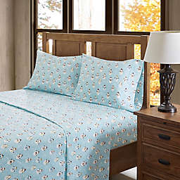 True North by Sleep Philosophy Snowmen Flannel King Sheet Set in Blue