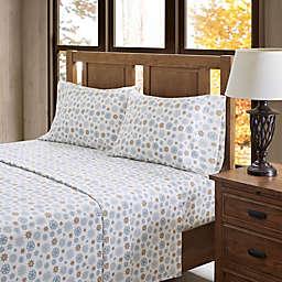 True North by Sleep Philosophy Cozy Flannel Queen Sheet Set in Tan/Blue