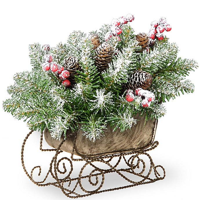Alternate image 1 for National Tree Dunhill Fir Sleigh 10-Inch Holiday Greenery