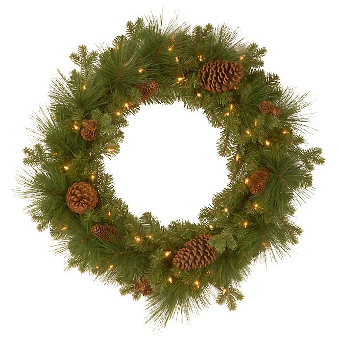 Alternate image 1 for National Tree Eastwood Spruce Pre-Lit Wreath with Mixed Cones
