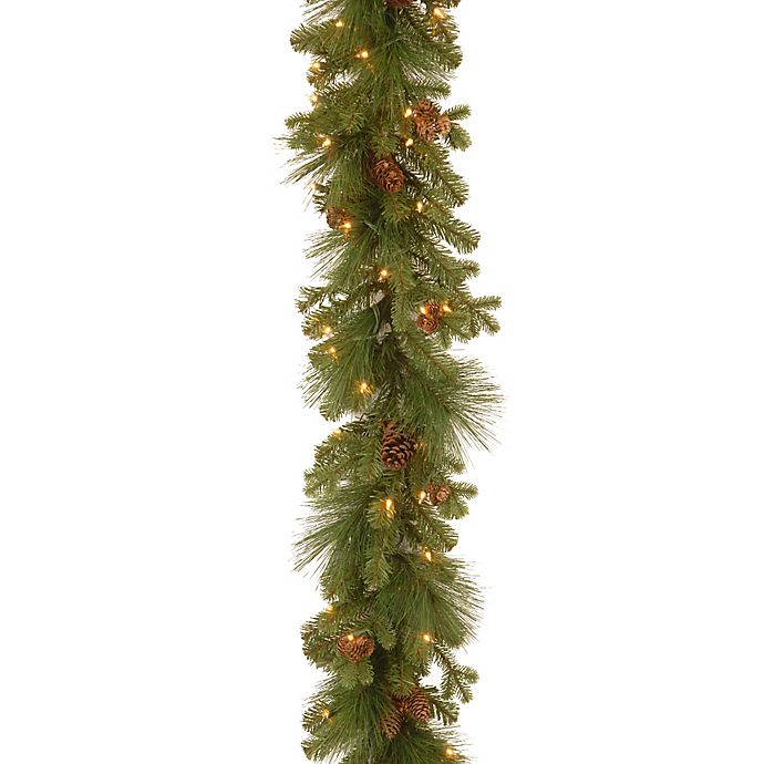 Alternate image 1 for National Tree Eastwood Spruce Pre-Lit Garland with Mixed Cones