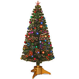 National Tree 6-Foot Fiber Optic Fireworks Christmas Tree with Ball Ornaments