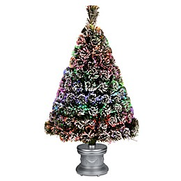National Tree 3-Foot Fiber Optic Evergreen Pre-Lit Flocked Tree with Silver Base