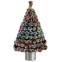 National Tree 4-Foot Fiber Optic Evergreen Pre-Lit Flocked Tree with Silver Base
