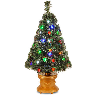 National Tree 3-Foot Fiber Optic Fireworks Evergreen Christmas Tree