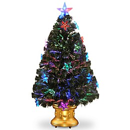 National Tree Company Fiber Optic 3-Foot Fireworks Tree with Star Lights