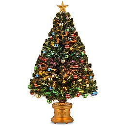 National Tree Company 4-Foot Fiber Optic Fireworks Tree with Ball Ornaments