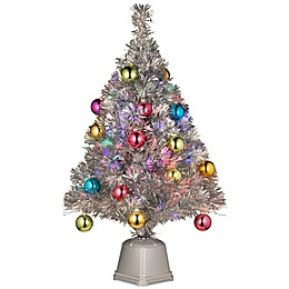 National Tree Fiber Optic Fireworks 2-1/2 Foot Ornament Silver Tinsel Tree