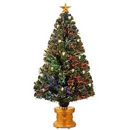 "The National Tree Company 48"" Fiber Optic Fireworks Tree w/Gold Lanterns"