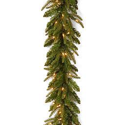 National Tree 9-Foot Frasier Fir Pre-Lit Garland with Clear Lights