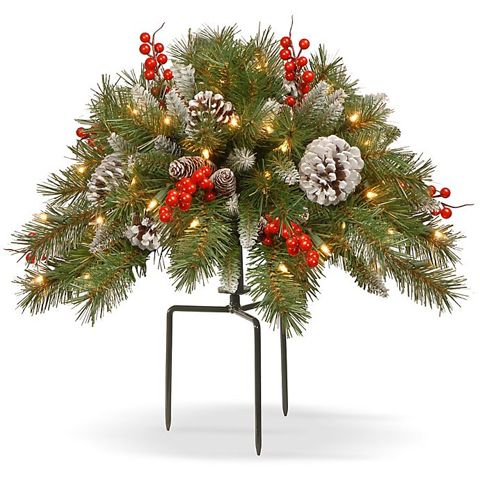 Alternate image 1 for National Tree Frosted Berry 18-Inch Urn Filler with White LED Lights