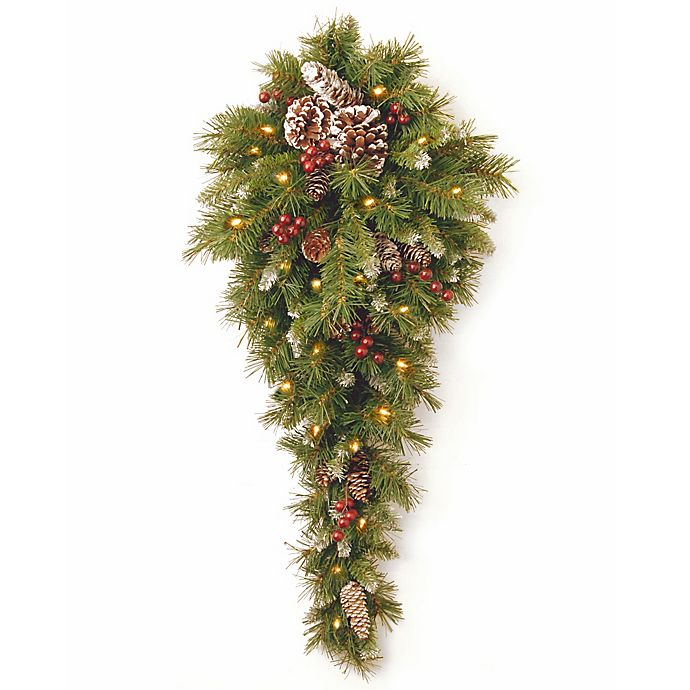 Alternate image 1 for National Tree Frosted Berry 3-Foot Teardrop with White LED Lights
