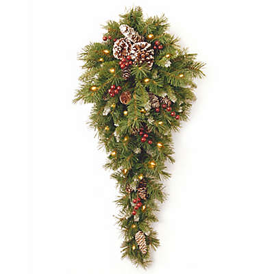 National Tree Frosted Berry 3-Foot Teardrop with White LED Lights