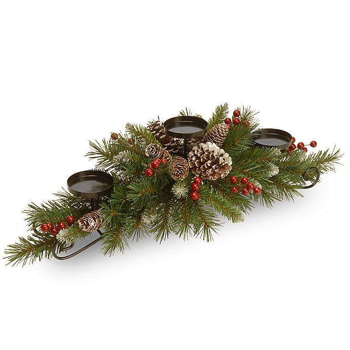 Alternate image 1 for National Tree Frosted Berry 30-Inch Centerpiece and Triple Candle Holder
