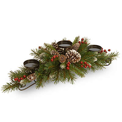 National Tree Frosted Berry 30-Inch Centerpiece and Triple Candle Holder