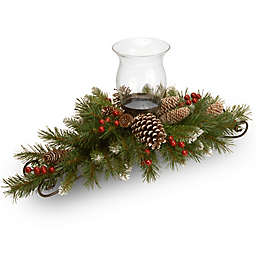 National Tree Frosted Berry 30-Inch Centerpiece and Single Candle Holder
