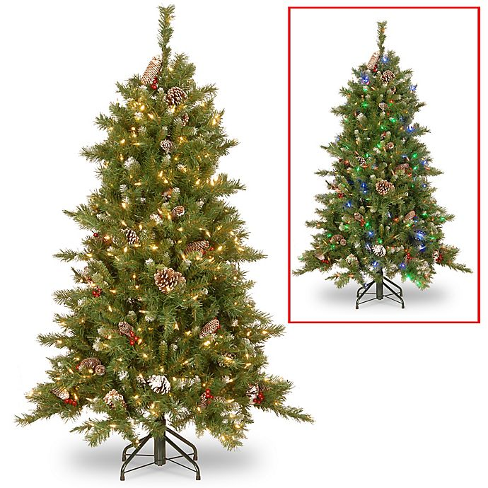 Berry Christmas Tree Lights: National Tree Frosted Berry Christmas Tree With Dual Color