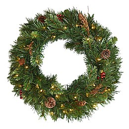 National Tree Company 24-Inch Glistening Pine Pre-Lit Wreath with LED Lights