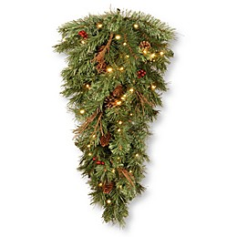National Tree Company 36-Inch Glistening Pine Pre-Lit Teardrop with LED Lights