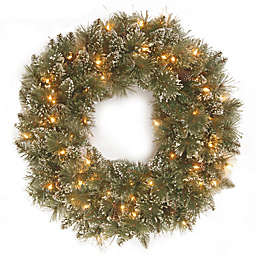 National Tree Company 24-Inch Pre-Lit Glittery Bristle Pine Wreath with Warm White LED Lights