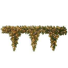 National Tree Company 6-Foot Pre-Lit Glittery Bristle Pine Teardrop Garland with Clear Lights