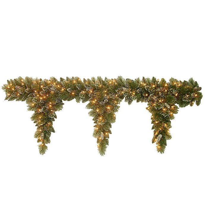 Alternate image 1 for National Tree Company 6-Foot Pre-Lit Glittery Bristle Pine Teardrop Garland with Clear Lights