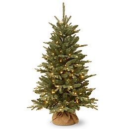 National Tree 4-Foot Everyday Burlap Pre-Lit Christmas Tree with Clear Lights
