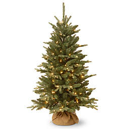 national tree 4 foot everyday burlap pre lit christmas tree with clear lights