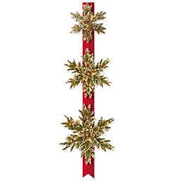 National Tree Company Set of 3 Pre-Lit Glittery Bristle Pine Snowflake with LED lights