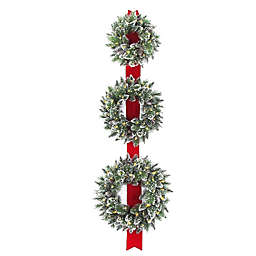 National Tree Company Set of 3 Pre-Lit Wreath with Battery Operated Warm White LED Lights