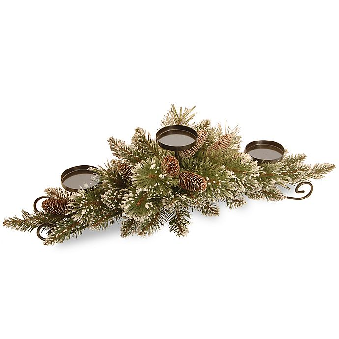 Alternate image 1 for National Tree Company 30-Inch Glittery Bristle Pine Centerpiece with 3 Candle Holders