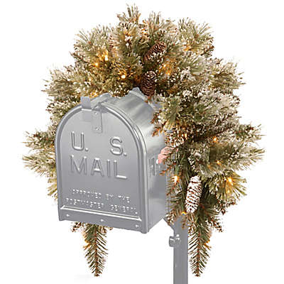 National Tree Company 3-Foot Pre-Lit Glittery Bristle Pine Mailbox Swag with LED Lights