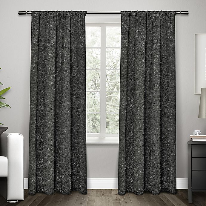 Alternate image 1 for Exclusive Home Embossed Satin 84-Inch Rod Pocket Window Curtain Panel Pair in Black Pearl